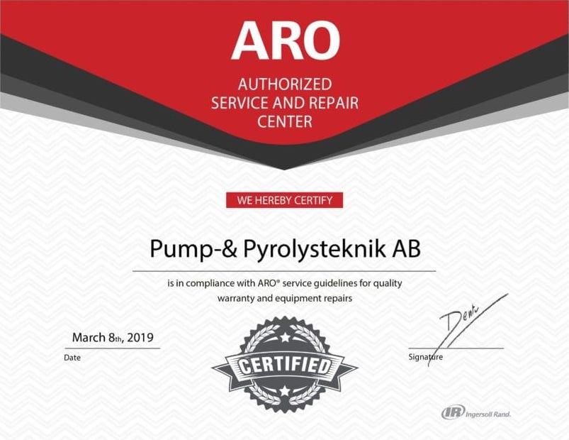 Pump- & pyrolysteknik AB Certifierad Återförsäljare av ARO pumpar